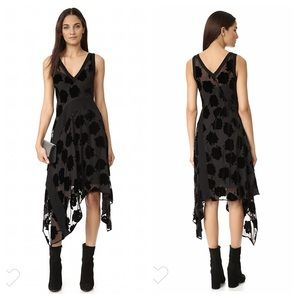 DKNY Black Velvet Flower Asymmetrical Midi Dress S